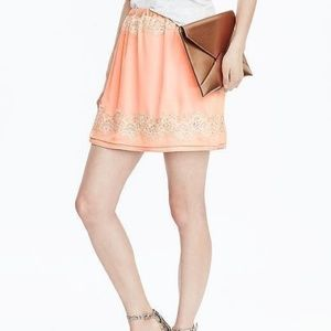 Banana Republic Peach Lace Mini Skirt Medium